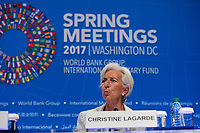 Washington, DC - April 20, 2017: International Monetary Fund Managing Director Christine Lagarde holds a press conference during the annual Spring Meetings of the IMF/World Bank Group at the IMF headquarters in the District of Columbia April 20, 2017.  (Photo by Don Baxter/Media Images International)