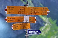 Swiss Hiking Sign at Jaman station (Vaud)
