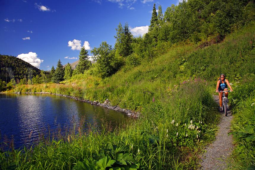 Mountain Biking on the  Russian Lakes-Resurrection River Trail, Kenai Peninsula, Chugach National Forest, Alaska.