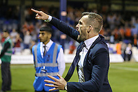 Nathan Jones (Manager) of Luton Town shows his delight at the fins whistle After the Sky Bet League 2 match between Luton Town and Newport County at Kenilworth Road, Luton, England on 16 August 2016. Photo by David Horn.
