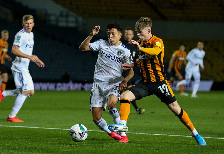 Leeds United's Ian Poveda battles with Hull City's Keane Lewis-Potter<br /> <br /> Photographer Alex Dodd/CameraSport<br /> <br /> Carabao Cup Second Round Northern Section - Leeds United v Hull City -  Wednesday 16th September 2020 - Elland Road - Leeds<br />  <br /> World Copyright © 2020 CameraSport. All rights reserved. 43 Linden Ave. Countesthorpe. Leicester. England. LE8 5PG - Tel: +44 (0) 116 277 4147 - admin@camerasport.com - www.camerasport.com