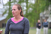 Brittany Lang talks with media regarding the new LPGA  tournament, International Crown, to begin in July 2014 and held at Caves Valley Country Club.