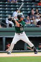 Second baseman Hunter Cole (19) of the Augusta GreenJackets bats in a game against the Greenville Drive on Opening Day, Thursday, April 9, 2015, at Fluor Field at the West End in Greenville, South Carolina. Cole is from Spartanburg, S.C., and attended Dorman High School. (Tom Priddy/Four Seam Images)