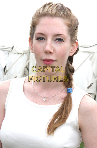 Comedienne Katherine Ryan<br /> Camp Bestival, Lulworth Castle, Dorset, England.<br /> August 3rd 2013<br /> headshot portrait white top <br /> CAP/JIL<br /> &copy;Jill Mayhew/Capital Pictures