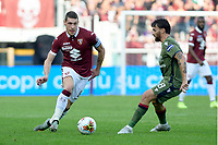 27th October 2019; Olympic Grande Torino Stadium, Turin, Piedmont, Italy; Serie A Football, Torino versus Cagliari; Andrea Belotti of Torino FC passes the ball forward  - Editorial Use