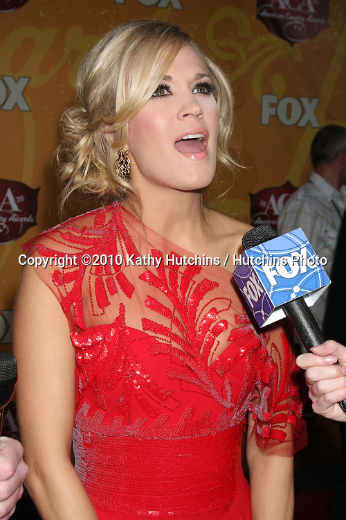 LOS ANGELES - DEC 6:  Carrie Underwood arrives at the 2010 American Country Awards at MGM Grand Garden Arena on December 6, 2010 in Las Vegas, NV.