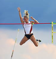 NWA Media/Michael Woods --05/29/2014-- w @NWAMICHAELW...University of Arkansas pole vaulter Danielle Nowell clears the bar in the women's pole vault Thursday afternoon at the 2014 NCAA Division 1 Track and Field West Preliminary track meet at John McDonnell Field in Fayetteville.