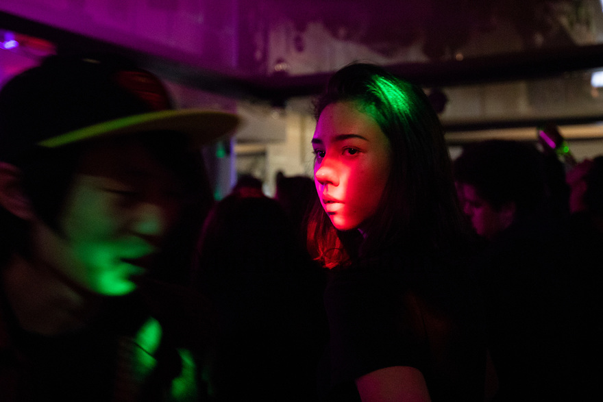 Uzbekistan - Tashkent - Youngsters listening to rock music inside a pub. Rock music was unofficially banned during the Karimov regime, nightclubs are slowly starting to re-open nowdays but it's still quite hard to get a permission to play.