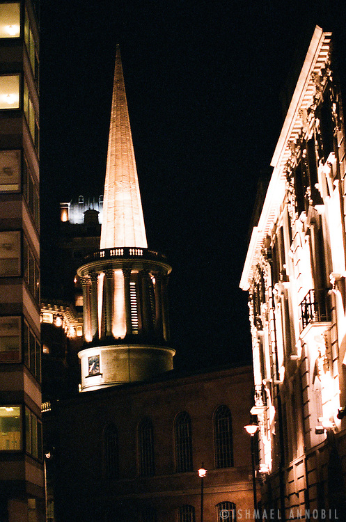 All Souls Church at night