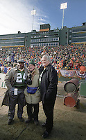 "Longtime Green Bay Packers photographer Vernon Biever poses with former Packers Willie Wood and Paul Hornung who served as Honorary Co-Captains of the NFC Championship game between the Packers and the Carolina Panthers at Lambeau Field on January 12, 1997. This was the first title game in Green Bay since the ""Ice Bowl"" in 1967."