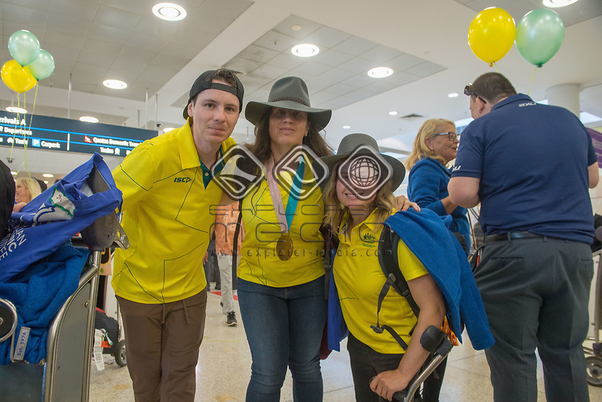 Welcome home / Christian Geiger, Melissa Perrine and Tori Pendergast<br /> PyeongChang 2018 Paralympic Games<br /> Australian Paralympic Committee<br /> Sydney International Airport<br /> PyeongChang South Korea<br /> Tuesday March 20th 2018<br /> &copy; Sport the library / Jeff Crow