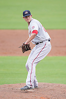 Greenville Drive relief pitcher Joe Gunkel (29) in action against the Kannapolis Intimidators at CMC-Northeast Stadium on April 6, 2014 in Kannapolis, North Carolina.  The Intimidators defeated the Drive 8-5.  (Brian Westerholt/Four Seam Images)