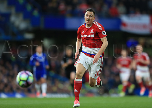 May 8th 2017, Stamford Bridge, Chelsea, London England; EPL Premier League football, Chelsea FC versus Middlesbrough; Stewart Downing of Middlesbrough chasing the loose ball along the wing