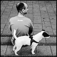 Nederland, Hilversum, 1mei 2013<br /> Man met hondje zit op de stoep<br /> <br /> Foto(c): Michiel Wijnbergh