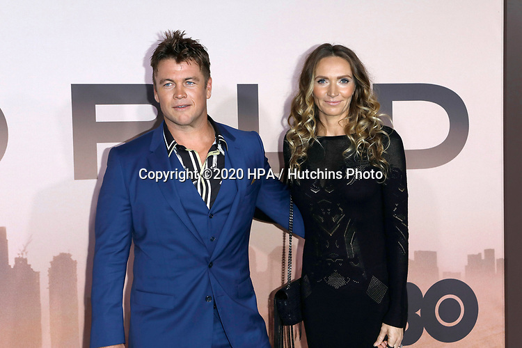 """LOS ANGELES - MAR 5:  Luke Hemsworth, wife at the """"Westworld"""" Season 3 Premiere at the TCL Chinese Theater IMAX on March 5, 2020 in Los Angeles, CA"""