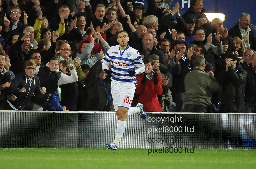 Adel Taarabt of Queens Park Rangers celebrates his goal during the Barclays Premier League match between West Ham United and Queens Park Rangers at Loftus Road on Monday ,01 October 2012 in London, England. Picture Zed Jameson/pixel 8000 ltd