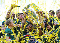 Manu Tuilagi and Logovi'i Mulipola lift the Aviva Premiership trophy in celebration. Aviva Premiership Final, between Leicester Tigers and Northampton Saints on May 25, 2013 at Twickenham Stadium in London, England. Photo by: Patrick Khachfe / Onside Images
