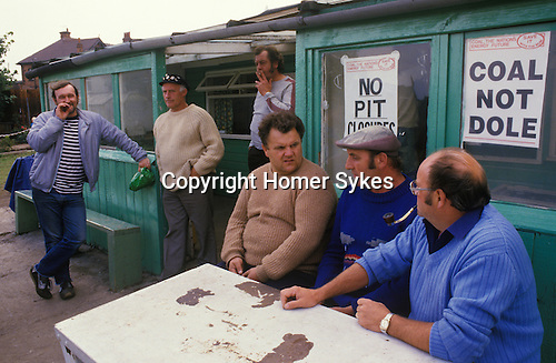 Miners strike Shirebrook Colliery Derbyshire.  1984.  Striking Miners local strike office.