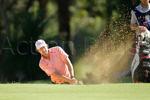 28.02.2016. Perth, Australia. ISPS HANDA Perth International Golf. Peter Uihlein (USA) plays out of the bunker at the 14th green during his last round.