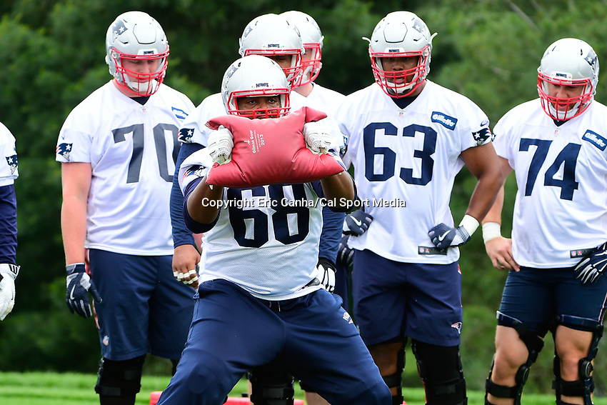 June 7, 2017: New England Patriots offensive lineman LaAdrian Waddle (68) works with a training aid at the New England Patriots mini camp held on the practice field at Gillette Stadium, in Foxborough, Massachusetts. Eric Canha/CSM