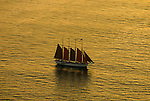 Aerial view of Schooner outside of Bar Harbor Maine