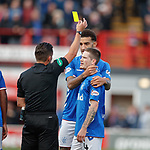 21.10.2018 Hamilton v Rangers: Ryan Kent celebrates his goal with the fans and gets booked for it