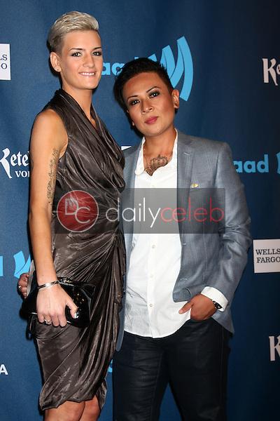 Khristianne Uy, Brittany Wiener<br /> at the 24th Annual GLAAD Media Awards, JW Marriott, Los Angeles, CA 04-20-13<br /> David Edwards/DailyCeleb.Com 818-249-4998
