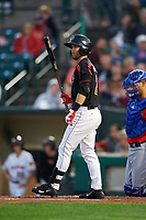 Rochester Red Wings center fielder Levi Michael (2) at bat during a game against the Buffalo Bisons on August 25, 2017 at Frontier Field in Rochester, New York.  Buffalo defeated Rochester 2-1 in eleven innings.  (Mike Janes/Four Seam Images)