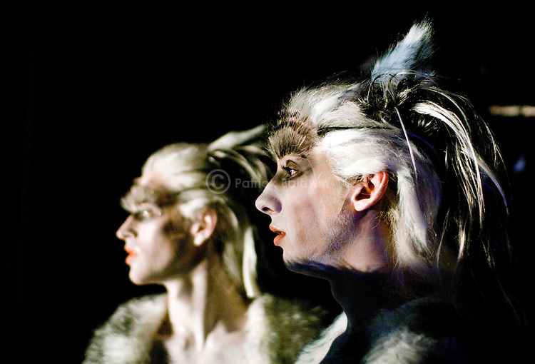 English National Ballet. Snow Queen. World Premiere. Choreographer: Michael Corder. Dancers watching from the wings