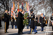 United States President Barack Obama and Prime Minister Nouri al-Maliki of Iraq participate in a wreath laying ceremony at the Tomb of the Unknown Soldiers at Arlington National Cemetery in Arlington, Virginia, Monday, December 12, 2011 in Arlington, Virginia..Credit: Olivier Douliery / Pool via CNP