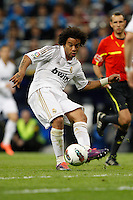 08.04.2012 SPAIN -  La Liga matchday 32th  match played between Real Madrid CF vs Valencia (0-0) and falls to 4 points behind Barcelona, at Santiago Bernabeu stadium. The picture show Marcelo Vieira (Brazilian defender of Real Madrid)