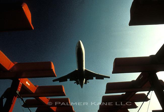 Jet landing at JFK intl airport