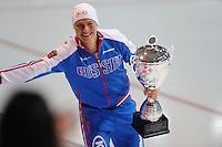 SCHAATSEN: ERFURT: Gunda Niemann Stirnemann Eishalle, 22-03-2015, ISU World Cup Final 2014/2015, winner 500m, 1000m, Overall Men World Cup, Pavel Kulizhnikov (RUS), ©foto Martin de Jong