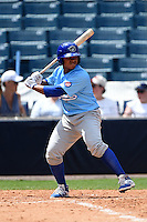 Daytona Cubs outfielder Oliver Zapata (1) during a game against the Tampa Yankees  on April 13, 2014 at George M. Steinbrenner Field in Tampa, Florida.  Tampa defeated Daytona 7-3.  (Mike Janes/Four Seam Images)