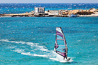 Windsurfing in Agrillaopotamos of Karpathos, Greece