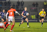 Sale Sharks Mike Haley breaks away during the European Rugby Champions Cup match between Sale Sharks and Saracens at AJ Bell Stadium, Salford, England on 18 December 2016. Photo by Paul Bell.