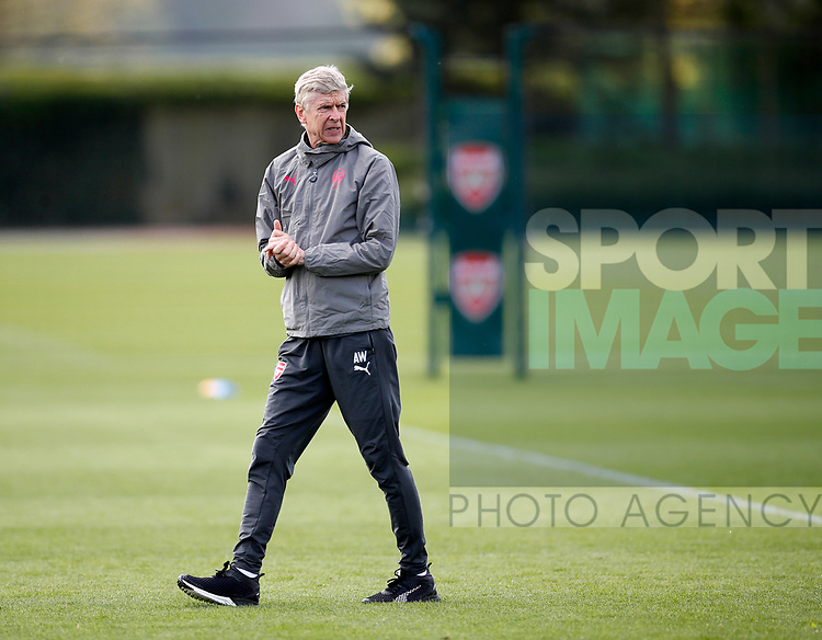 Arsenal's Arsene Wenger during the training session at the Arsenal Training Centre, London Colney. Picture date: 25th April 2018. Picture credit should read: David Klein/Sportimage