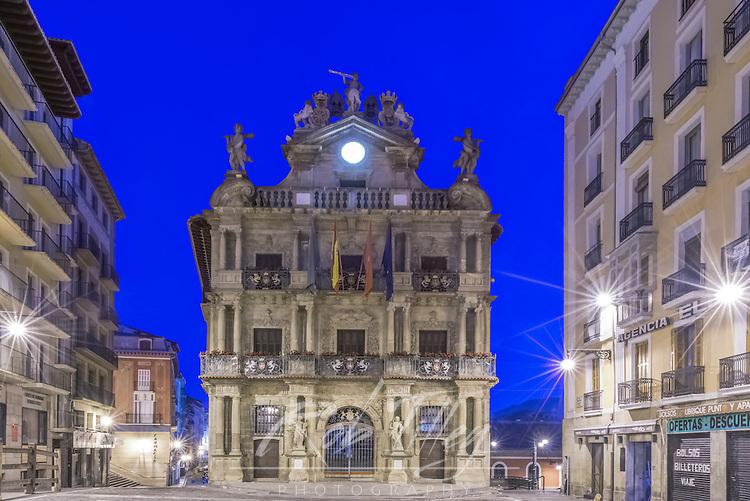 Spain, Pamplona, City Hall at Dawn