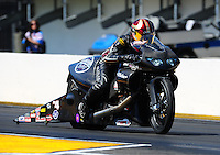 Mar. 13, 2011; Gainesville, FL, USA; NHRA pro stock motorcycle rider Matt Smith during the Gatornationals at Gainesville Raceway. Mandatory Credit: Mark J. Rebilas-