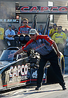Jun. 29, 2012; Joliet, IL, USA: NHRA crew chief Richard Hogan directs top fuel dragster driver Steve Torrence during qualifying for the Route 66 Nationals at Route 66 Raceway. Mandatory Credit: Mark J. Rebilas-