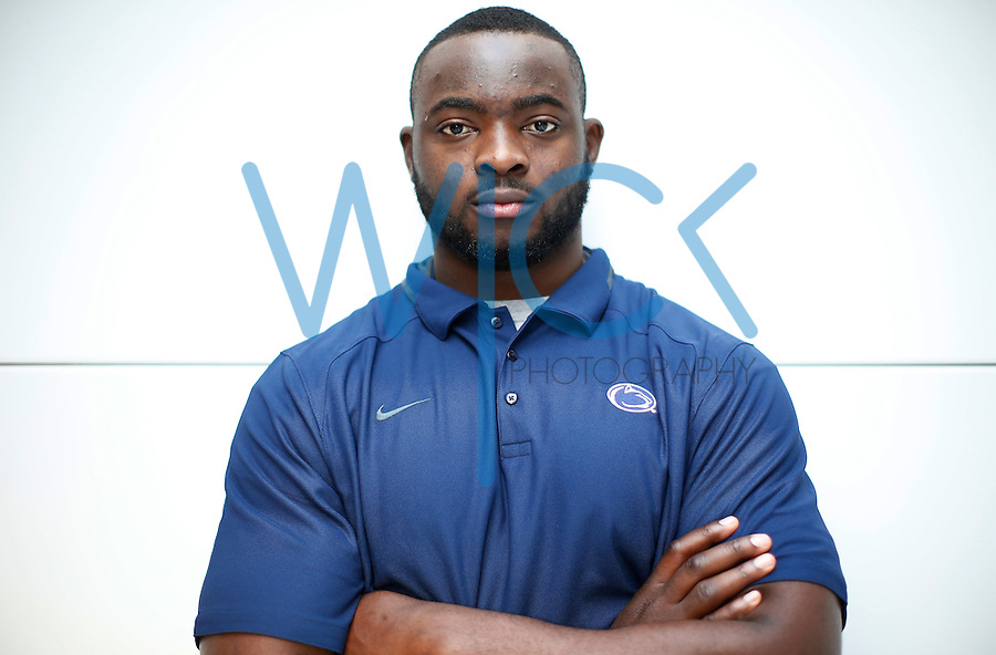 Immanuel Iyke #96 of the Penn State Nittany Lions poses for a portrait inside the Louis and Mildred Lasch football building in State College, Pennsylvania on Monday December 5, 2016. (Photo by Jared Wickerham/The Players Tribune)