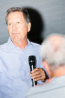 Republican presidential candidate and Ohio governor John Kasich speaks at a town hall campaign event at the Derry VFW in Derry, New Hampshire.