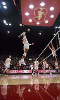 STANFORD, CA - January 5, 2019: Jaylen Jasper, Stephen Moye, Jordan Ewert, Eric Beatty at Maples Pavilion. The Stanford Cardinal defeated UC Santa Cruz 25-11, 25-17, 25-15.