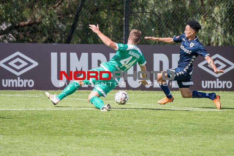 11.01.2019, Bidvest Stadion, Braampark, Johannesburg, RSA, FSP, SV Werder Bremen (GER) vs Bidvest Wits FC (ZA)<br /> <br /> im Bild / picture shows <br /> <br /> Granwald Scott Warren(Bidvest Wits FC #14)<br /> Philipp Bargfrede (Werder Bremen #44) <br /> danach das 2:2<br /> <br /> Foto &copy; nordphoto / Kokenge