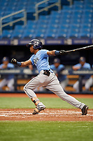 Aldenis Sanchez (9) follows through on a swing during the Tampa Bay Rays Instructional League Intrasquad World Series game on October 3, 2018 at the Tropicana Field in St. Petersburg, Florida.  (Mike Janes/Four Seam Images)
