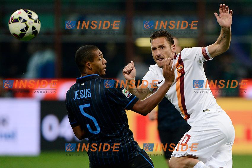 Francesco Totti Roma, Juan Jesus Inter<br /> Milano 25-04-2015 Stadio Giuseppe Meazza - Football Calcio Serie A Inter - Roma. Foto Giuseppe Celeste / Insidefoto