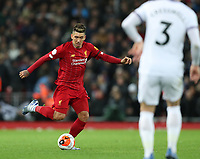 24th February 2020; Anfield, Liverpool, Merseyside, England; English Premier League Football, Liverpool versus West Ham United; Roberto Firmino of Liverpool passes the ball in midfield