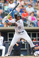 Kane County Cougars Kristian Robinson (10) at bat during a Midwest League game against the Quad Cities River Bandits on August 24, 2019 at Modern Woodmen Park in Davenport, Iowa.  Quad Cities defeated defeated Kane County 8-2.  (Travis Berg/Four Seam Images)