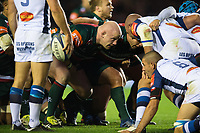 Dan Cole of Leicester Tigers prepares to scrummage against his opposite number. European Rugby Champions Cup match, between Leicester Tigers and Castres Olympique on October 21, 2017 at Welford Road in Leicester, England. Photo by: Patrick Khachfe / JMP