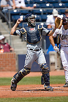 Catcher Jason Haniger #29 of the Georgia Tech Yellow Jackets on defense versus the Boston College Eagles at Durham Bulls Athletic Park May 21, 2009 in Durham, North Carolina.  (Photo by Brian Westerholt / Four Seam Images)